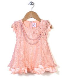 Lei Chie Dress  With Flower Applique - Peach