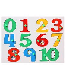 Little Genius -  Wooden Number Picture Tray With Knob Board