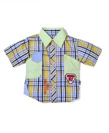 Mall Half Sleeves Checkered Shirt - Green And Blue