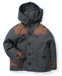 Kiddy Mall Jacket Style Hooded Shirt - Grey