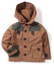 Kiddy Mall Jacket Style Hooded Shirt - Khaki