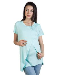 Blush 9 T-Shirt With Wrap Overlay - Mint Blue