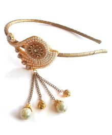 Soulfulsaai Peacock Pearls Hair Band - Golden