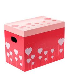 Fly Frog Storage Box With Lid Hearts Theme - Red