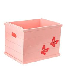 Fly Frog Open Storage Box Butterfly Theme - Peach