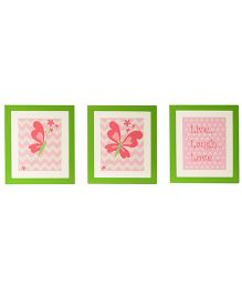 Flyfrog Wall Art Butterfly Theme - Peach And Green