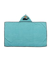 Flyfrog Hooded Cotton Bath Towel Dolphin Theme - Blue