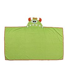 Flyfrog Hooded Towel Monster Print - Green