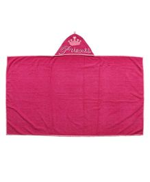 Flyfrog Hooded Towel Princess Print - Dark Pink