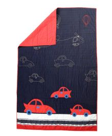 Flyfrog Quilt Car Theme - Navy Blue And Red