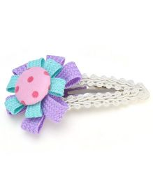 Clip Case Snap Clip Floral Applique - Blue and Purple