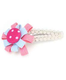 Clip Case Snap Clip Floral Applique - Blue and Pink
