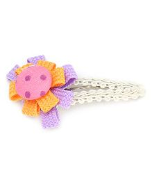 Clip Case Snap Clip Floral Applique - Orange and Purple