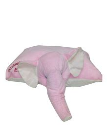 Ellisha's World Elephant Head Pillow - Pink And White