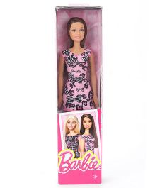 Barbie Doll In Floral Print Dress - Pink And Black