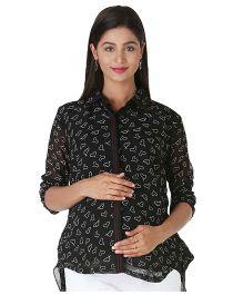 Morph Printed Nursing Shirt Black - Large