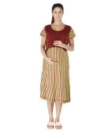 Morph Green Striped Night Gown - Medium