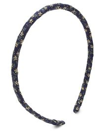 Clip Case Hair Band Flower Print - Navy Blue
