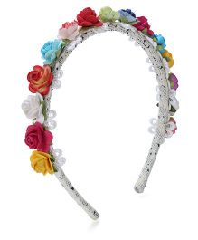 Sweet Berry Hair Band Flower Applique - Multi Color and White