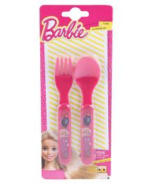 Barbie Spoon & Fork Set - Pink