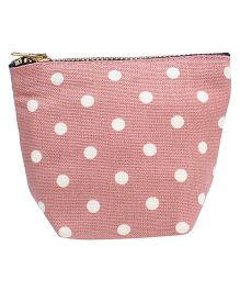Clip Case Travel Pouch Polka Dots Print - Pink
