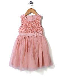 Mothercare Sleeveless Party Frock Bow Applique - Peach