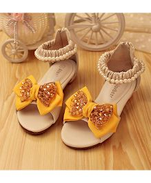Zebeggi Glitter Bow Sandals - Yellow