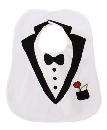 Little Hip Boutique Tuxedo Style Bib - White