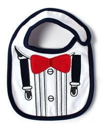 Little Hip Boutique Suspender Print Bib - White