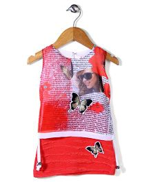 Lei Chie Digital Print Dress With 3D Butterfly - Red