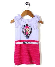Lei Chie Girl Print Dress With Diamond - Pink