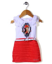Lei Chie Girl Print Dress With Diamond - Red