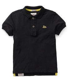 Police Zebra Half Sleeves Polo T-Shirt - Black