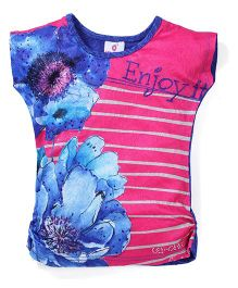 Lei Chie Casual Top with Digital Print & Stripes Design - Blue & Pink