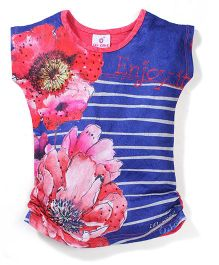 Lei Chie Casual Top with Digital Print & Stripes Design - Red & Blue