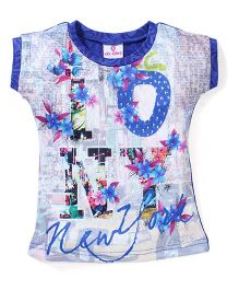 Lei Chie Casual Top Over All Digital Print Design - Blue