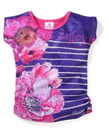 Leichie Casual Top with Digital Print & Stripes - Pink