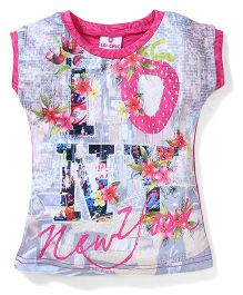 Lei Chie Casual Top with Over All Digital Print Design - Pink