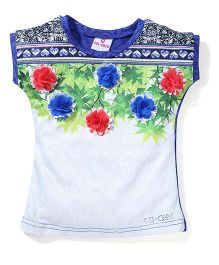 Lei Chie Casual Top with Floral Digital Print - Blue