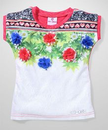 Lei Chie Casual Top with Floral  Digital Print - Red