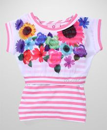 Lei Chie Casual Top with Floral Digital Print & Stripes Design - Pink