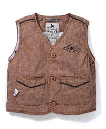 Police Zebra Sleeveless Party Wear Jacket - Light Brown