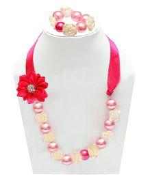 D'chica Necklace & Bracelet Set - Fuschia