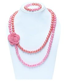 D'chica Necklace & Bracelet Set - Pink & Peach