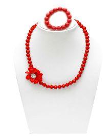 D'chica Necklace & Bracelet Set - Red