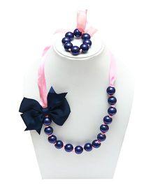 D'chica Necklace & Bracelet Set - Blue & Pink