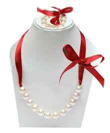 D'chica Necklace & Bracelet Set - White & Maroon