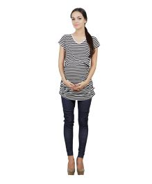 Best Of The Bump Striped Ruched Maternity T-Shirt Black - Medium