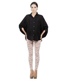 Best Of The Bump Quarter Sleeves Front Button Maternity Shirt Black - Free Size
