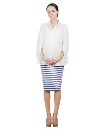 Best Of The Bump Quarter Sleeves Front Button Maternity Shirt Off White - Free Size